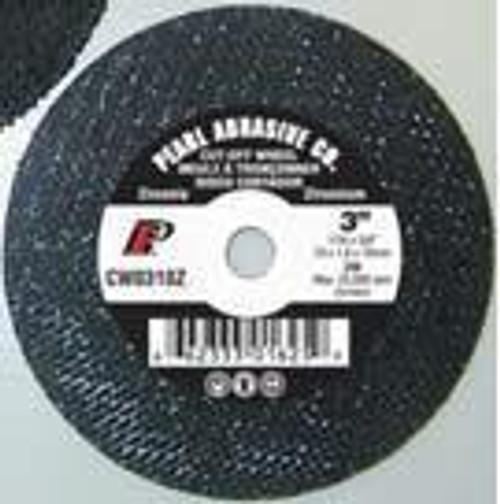 Pearl Abrasive T-1 Zirconia Small Diameter Cut Off Wheel 25ct Case Z30 Grit 3 x 1/16 x 1/4 CW0330Z