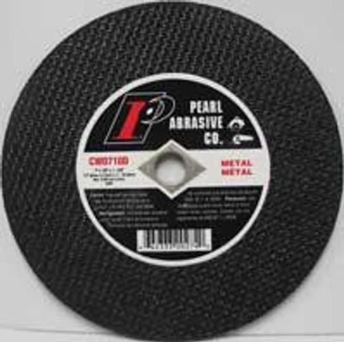 Pearl Abrasive T-1 Premium Aluminum Oxide Small Diameter Cut Off Wheel 25ct Case A36R Grit 7 x 1/8 x DIA 5/8 CW0710D