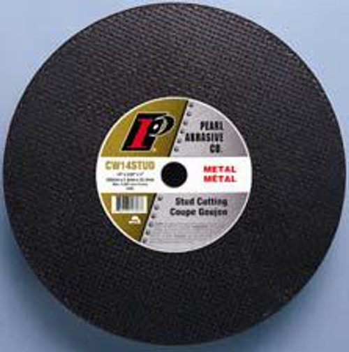 Pearl Abrasive Stud Cutting Cut Off Wheel for Chop Saws 10ct Case A46S Grit 14 x 3/32 x 1 CW14STUD