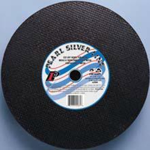 Pearl Abrasive T-1 Aluminum Oxide Silver Line Cut Off Wheel for Chop and Stationary Saws 10ct Case A30R Grit 16 x 1/8 x 1 CW1620T