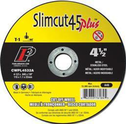 Pearl Abrasive T-1 Aluminum Oxide Slimcut 45 Plus Thin Cut Off Wheel 25ct Case A46 Grit 4 1/2 x .045 x 7/8 CWPL4532A
