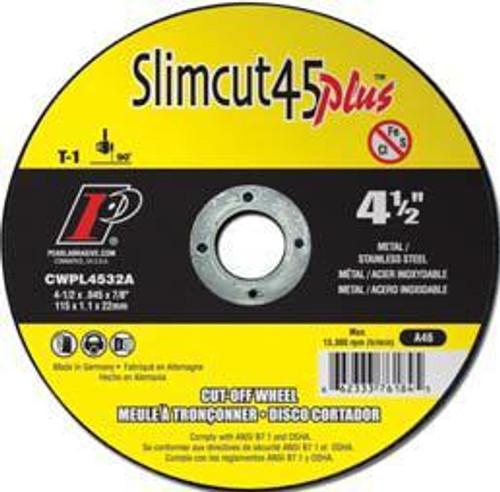 Pearl Abrasive T-1 Aluminum Oxide Slimcut 45 Plus Thin Cut Off Wheel 25ct Case A46 Grit 4 1/2 x .045 x 7/8 CWPL4532A