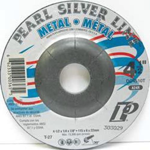 Pearl Abrasive T-27 Aluminum Oxide Silver Line Depressed Center Grinding Wheel A24R Grit 25ct Case 4 x 5/32 x 5/8 DC4010T