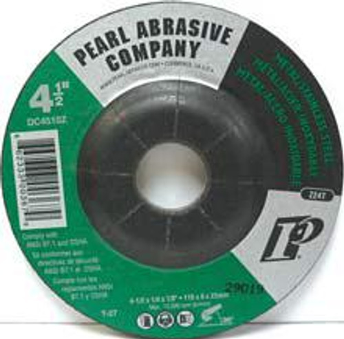Pearl Abrasive T-27 Zirconia Depressed Center Grinding Wheel Z24T Grit 25ct Case 4 x 1/4 x 5/8 DC4030Z