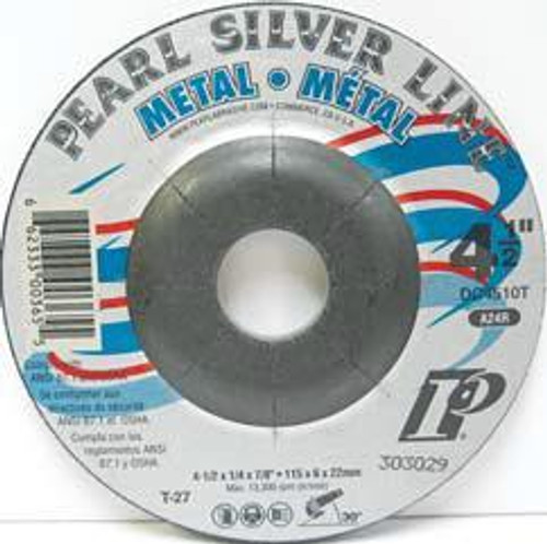 Pearl Abrasive T-27 Aluminum Oxide Silver Line Depressed Center Grinding Wheel A24R Grit 25ct Case 4 1/2 x 1/4 x 7/8 DC4510T