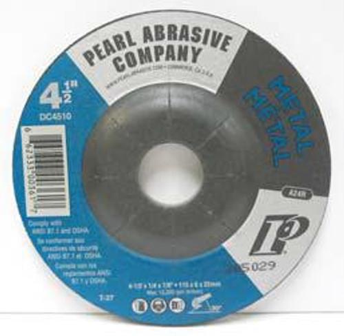 Pearl Abrasive T-27 Aluminum Oxide Premium Depressed Center Grinding Wheel 10ct Case A24R Grit 5 x 1/4 x 5/8- 11 DC5010H