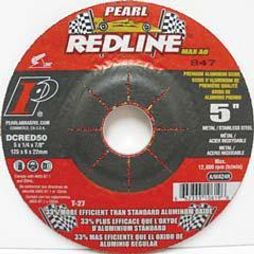 Pearl Abrasive T-27 Aluminum Oxide Redline Max A.O. Depressed Center Grinding Wheel 25ct Case A/WA24R Grit 5 x 1/4 x 7/8 DCRED50