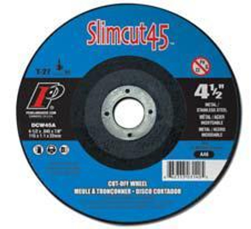 Pearl Abrasive T-27 Aluminum Oxide Slimcut 45 Thin Cut Off Wheel 25ct Case A46 Grit 5 x .045 x 7/8 DCW05A