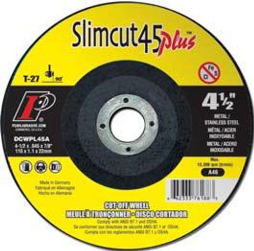Pearl Abrasive T-27 Aluminum Oxide Slimcut 45 Plus Thin Cut Off Wheel 25ct Case A46 Grit 5 x .045 x 7/8 DCWPL05A