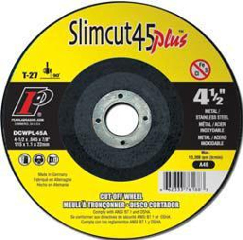Pearl Abrasive T-27 Aluminum Oxide Slimcut 45 Plus Thin Cut Off Wheel 25ct Case A46 Grit 4 1/2 x .045 x 7/8 DCWPL45A