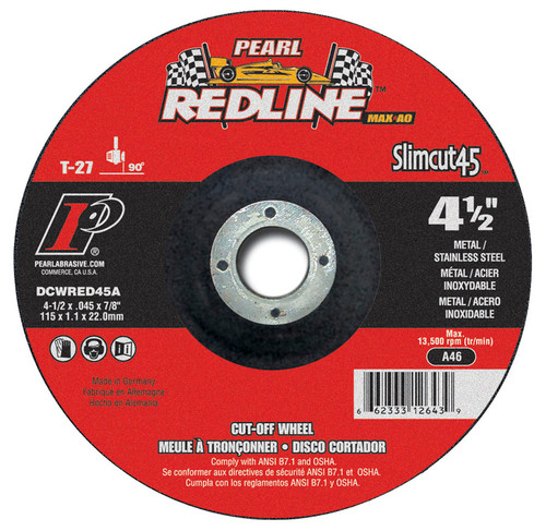 Pearl Abrasive T-27 Aluminum Oxide Slimcut 45 Max A.O. Redline Thin Cut Off Wheel 25ct Case A46 Grit 5 x .045 x 7/8 DCWRED05A