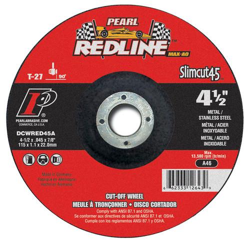 Pearl Abrasive T-27 Aluminum Oxide Slimcut 45 Max A.O. Redline Thin Cut Off Wheel 25ct Case A46 Grit 5 x .045 x 7/8 DCWRED05A