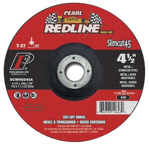 Pearl Abrasive T-27 Aluminum Oxide Slimcut 45 Max A.O. Redline Thin Cut Off Wheel 25ct Case A46 Grit 6 x .045 x 7/8 DCWRED06A