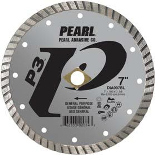 Pearl Abrasive P3 Pro-V Flat Core Diamond Turbo Blade 5 x .080 x 7/8- 5/8 Adapter DIA005BL