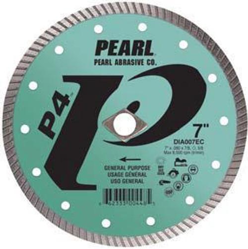 Pearl Abrasive P4 Pro-V Flat Core Diamond Turbo Blade 5 x .080 x 7/8- 5/8 Adapter DIA005EC