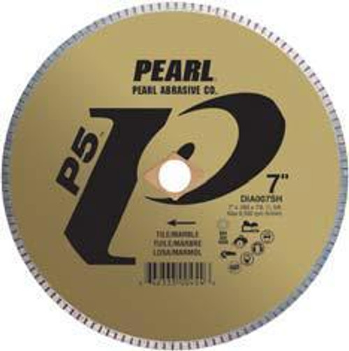 Pearl Abrasive P5 Diamond Blade for Tile and Marble 5 x .050 x 7/8- 5/8 Adapter DIA005SH