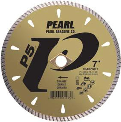 Pearl Abrasive P5 Diamond Blade for Granite 7 x .080 x 7/8, DIA- 5/8 Adapter DIA07GRT