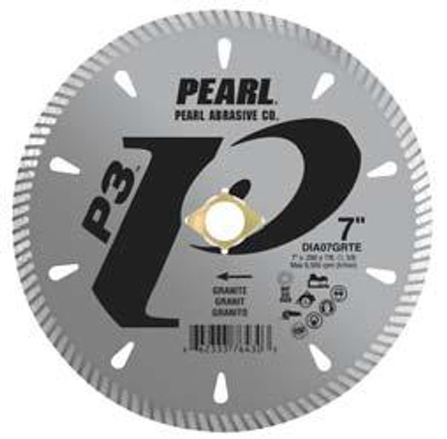 Pearl Abrasive P3 Diamond Blade for Granite 7 x .090 x 7/8, 20mm, 5/8, 4 holes DIA07GRTE4