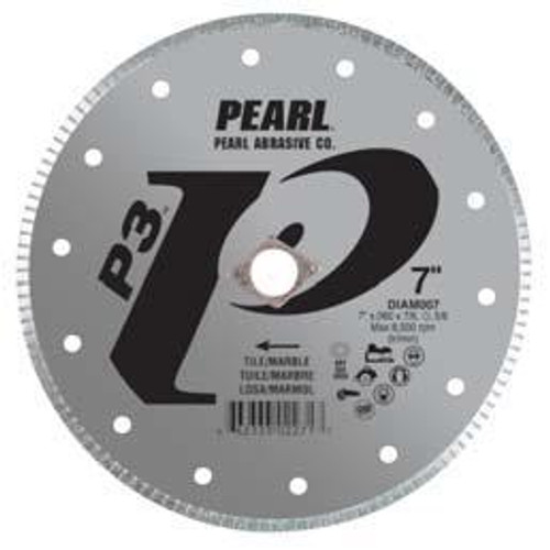 Pearl Abrasive P3 Diamond Blade for Tile and Marble 7 x .060 x 7/8, DIA- 5/8 Adapter DIAM007