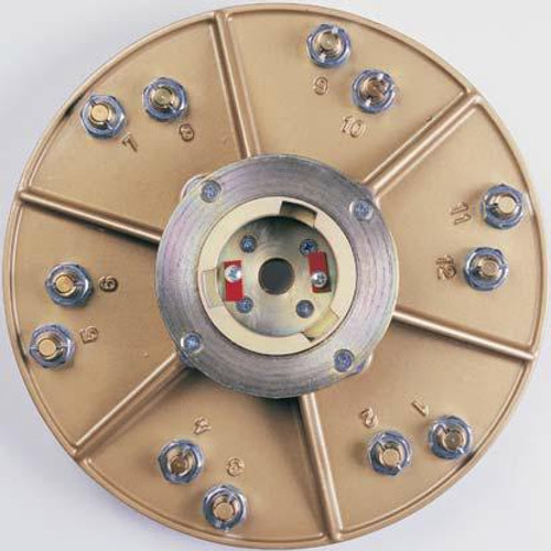 Back of Hexplate with Superclutch at Center- Pearl Abrasive Hexpin Floor Preparation System Superclutch w/15 inch Hexplate and 12 Gold Diamond Pins (Coarse Diamonds) HEX1712CCLT