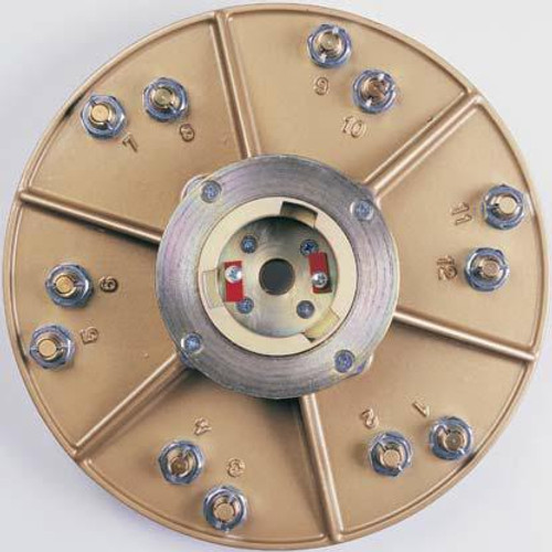 Back of Hexplate with Superclutch at Center- Pearl Abrasive Hexpin Floor Preparation System Superclutch w/15 inch Hexplate and 6 Hook and Loop Backing Pads HEX17BPDCLT