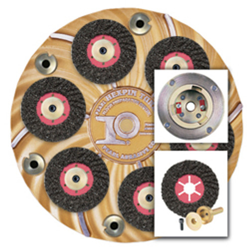 "Pearl Abrasive Hexpin Floor Preparation System 15"" Hexplate w/Superclutch & 6 Turbo Cut Pins HEX17FTCCLT"