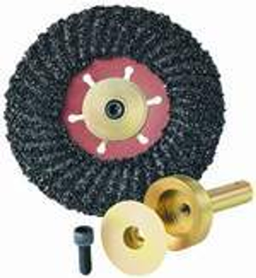 Also fits with FSP4516 4-1/2 x 7/8 C16 Grit Turbo-Cut disc (Shown Here) Pearl Abrasive Hexpin Floor Preparation System Turbo-Cut Hexpin Attachment HEX1FTC