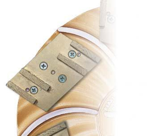 Segmented Pad on Hexplate- Pearl Abrasive Hexpin Floor Preparation System Complete Diamond Pin Holder w/Diamond Segmented Pad Attachment  for 15 inch plate HEX4SEG-MFD
