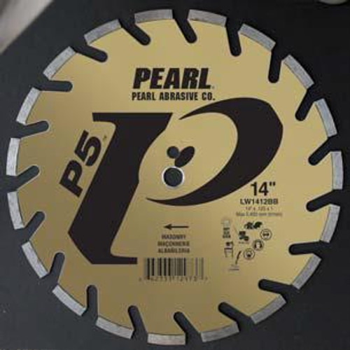 Pearl Abrasive P5 Segmented Diamond Blade for Masonry 14 x .125 x 1, 20mm LW1412BB