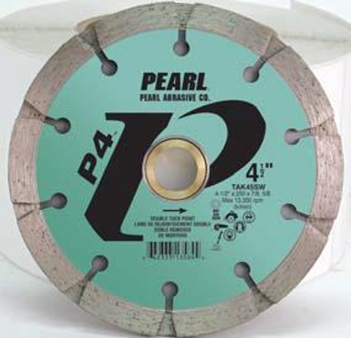Pearl Abrasive P4 Pro-V Sandwich Tuck Point Blade 4 1/2 x .250 x 7/8- 5/8 Adapter TAK45SW