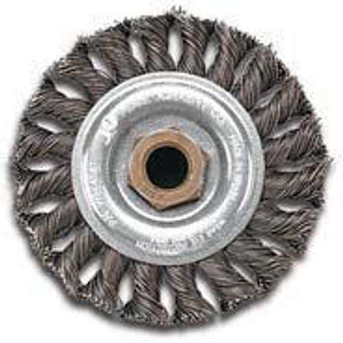 Pearl Abrasive Stainless Steel Regular Twist Knot Wheel 4 x .020 x 5/8-11 CLWBK458TS