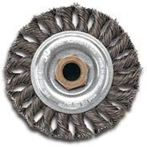 Pearl Abrasive Tempered Wire Regular Twist Knot Wheel for Pipeliner 6 x .020 x 5/8-11 CLWBP658