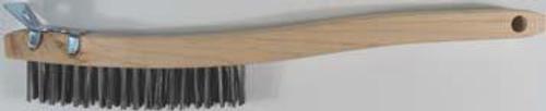 Pearl Abrasive 3 x 19 Carbon Steel Curved Handle Wire Scratch Brush w/Scraper 12ct Box SCB319K