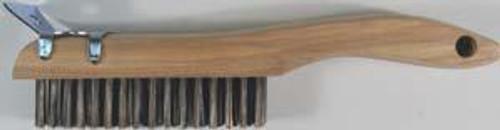 Pearl Abrasive 4 x 16 Carbon Steel Shoe Handle Wire Scratch Brush w/Scraper 12ct Box SCB416K