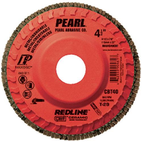 Pearl Abrasive T-29 Trimmable Ceramic Redline CBT Maxidisc for Metal and Stainless Steel 10ct Case CBT40, CBT60 or CBT80 Grit 5 x 7/8 MAX5040CBT, MAX5060CBT, MAX5080CBT