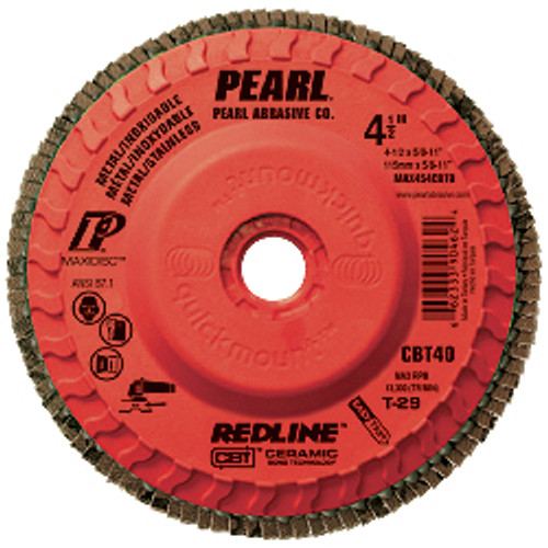 Pearl Abrasive T-29 Trimmable Ceramic Redline CBT Maxidisc for Metal and Stainless Steel 10ct Case CBT40, CBT60 or CBT80 Grit 5 x 5/8- 11 MAX504CBTQ, MAX506CBTQ, MAX508CBTQ
