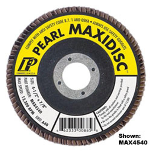 Pearl Abrasive T-27 Aluminum Oxide Premium Maxidisc Flapdisc 10ct Case A40, A60, A80, A100 or A120 Grit 4-1/2 x 7/8 MAX4540, MAX4560, MAX4580, MAX45100, MAX45120