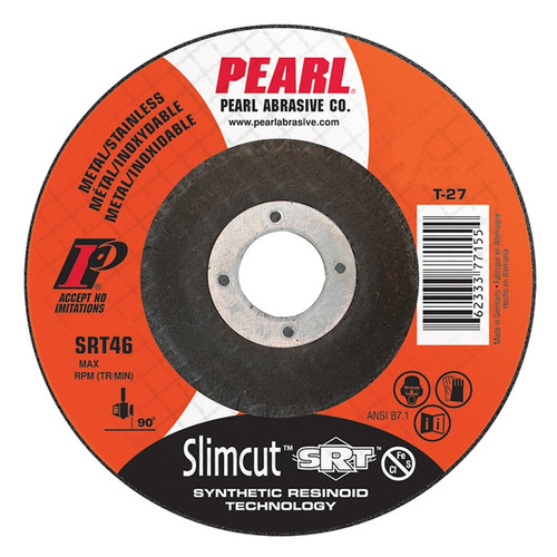 """The Pearl Abrasive SRT™ Slimcut Thin Cut Off Wheels provides the best cut at an affordable price. These SRT Slimcut wheels are the top of the line thin cut off wheels from Pearl Abrasive Co. These cut off wheels are reinforced with fiberglass for longer wear.  Pearl Abrasive SRT Cut off wheels are designed for Carbon and Stainless applications.  They are an INOX wheel making them ideal for fabricating food storage and processing equipment.  Try these premium SRT™ abrasive cut-off wheels today!  Pearl 4 1/2"""" x .045 x 7/8"""" – Stainless Synthetic Resinoid Aluminum Oxide grain. Contaminate Free: Excellent on Stainless Steel Fast cutting with long life. Contamination Free ( Fe + S = CI < 0.1% ) Grit: SRT46 Type 27: Depressed Center MAX RPM: 13,300 QTY: 25"""