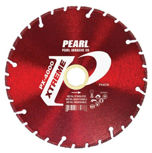"The Xtreme PX-4000 is a brand new line of diamond wheels from Pearl Abrasive Co. that is excellent for metal cutting applications.  These high quality blades are meant for cutting metal, stainless steel and a variety of ferrous metals with less odor and debris compared to standard Cut-Off wheels.   The Pearl Xtreme PX-4000 blades are rated to a much higher RPM than your typical carbide tipped ferrous cutting circular saw blades. The PX-4000 also has a thin, yet sturdy kerf design; this allows the operator to make angled cuts without having to worry about the blade flexing, unlike standard thin abrasive cut-off wheels.   The blade tips of the Pearl Xtreme PX-4000 feature a high concentration of diamonds with an extremely strong bond, increasing the longevity of your blade. The Pearl Xtreme PX-4000 blades have fast cutting speeds and longer life, which provide a cost-effective alternative to Circular Saw Blades and Abrasive Cut-off wheels. Call Ernie's Tools today and try out these Premium Blades from Pearl Abrasive Co. •	4 1/2"" x .050 x 7/8"", 5/8"" •	Ultra Thin Kerf - Less Material Lost During Cutting. •	Vacuum Brazed Technology - For Extra Long Life •	Blade Life is Equivalent to 65 Abrasive Wheels.  •	Less Blade Changes, Less Downtime, More Money In Your Pocket! •	MAX RPM: 13,000"