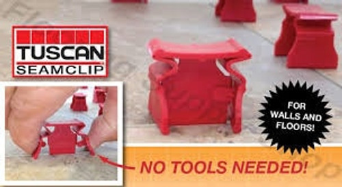"Tuscan Truspace Red SeamClip 1/32"" Tile Spacer for 3/8"" to less than 1/2"" Tile 1000 ct Box"