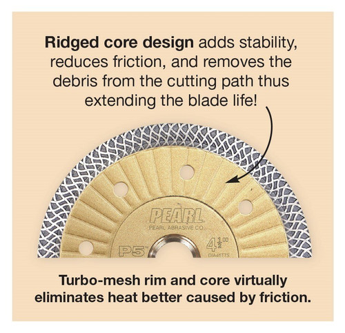 "Pearl Abrasive P5 Turbo Mesh Porcelain Diamond Blade 4-1/2"" x .048 x 7/8, 5/8, 20mm"