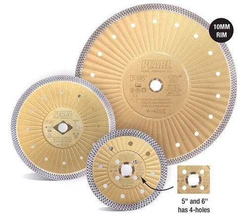 "Pearl Abrasive P5 Turbo Mesh Porcelain Diamond Blade 7"" x .055 x 7/8, 5/8"