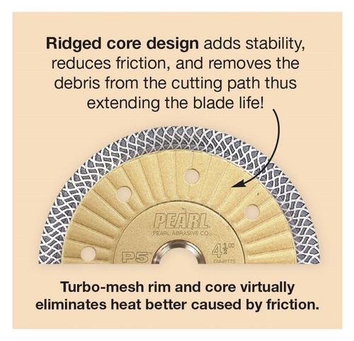 "Pearl Abrasive P5 Turbo Mesh Porcelain/Granite Diamond Blade 10"" x .065 x 7/8, 5/8, 20mm"