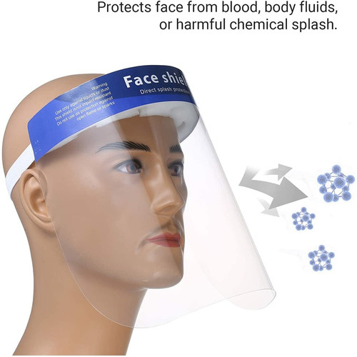 This reusable protective isolation face shield is designed for protection from viruses and fluid tranfer and is the most common design face protection and allows plenty on room for Kn-95 Mask and Surgical mask glasses and are very nice to have around if someone is sick.