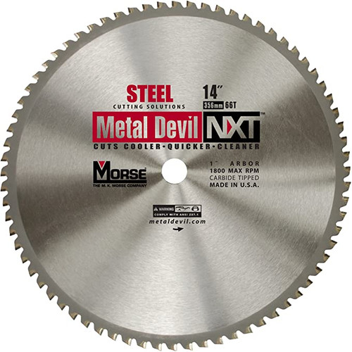 "MK Morse 14"" 66T Thin Steel Low RPM Dry Cut Blade"