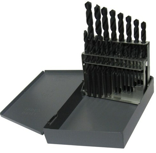 "Drill America 21pc 1/16""-3/8"" x 64 ths HSS Black Oxide Left Hand Drill Bit Set"