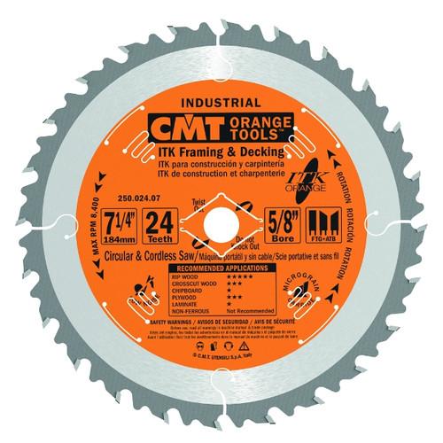 "CMT ITK Industrial Framing/Decking Circular Saw Blade 7-1/4"" 24T 10 ct Box"