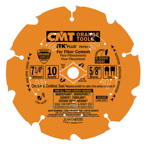 "CMT ITK Plus Carbide Tipped Fiber Cement Blade 7-1/4"" 10 tpi"