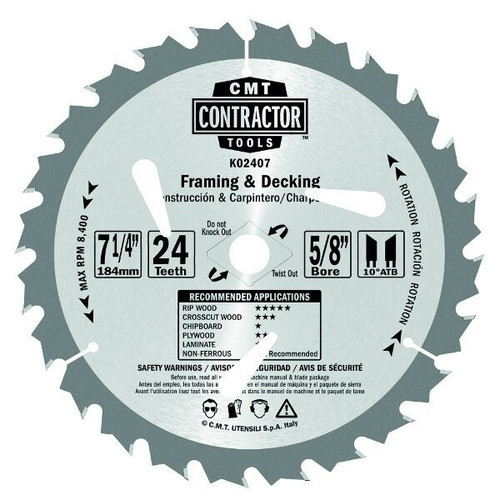 "CMT ITK Contractor Framing/Decking Circular Saw Blade 7-1/4"" 24 Teeth 10 pack"