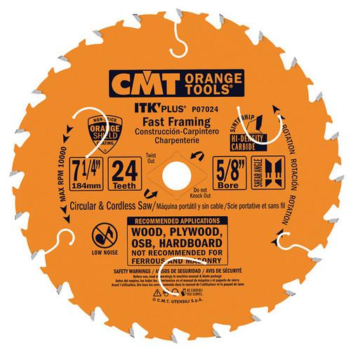 "CMT ITK Plus Fast Framing Circular Saw Blade 7-1/4"" 24T 10 ct Box"